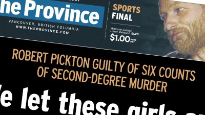 Pickton Guilty newspaper headline